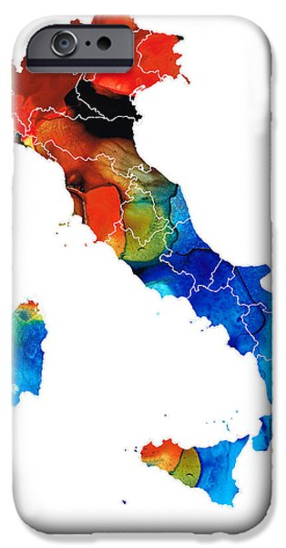 Genoa iPhone Cases - Italy - Italian Map by Sharon Cummings iPhone Case by Sharon Cummings