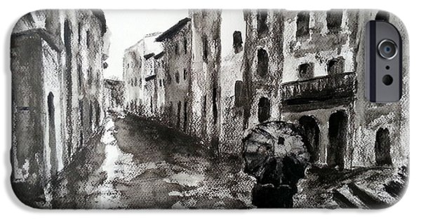 Rainy Day Drawings iPhone Cases - Italy series 3 iPhone Case by Uma Krishnamoorthy