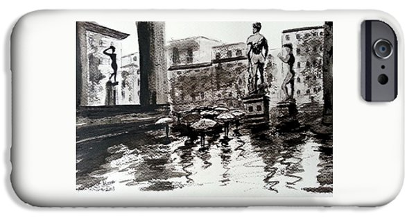 Rainy Day Drawings iPhone Cases - Italy series 8 iPhone Case by Uma Krishnamoorthy
