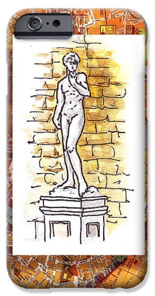 David iPhone Cases - Italy Sketches Michelangelo David iPhone Case by Irina Sztukowski