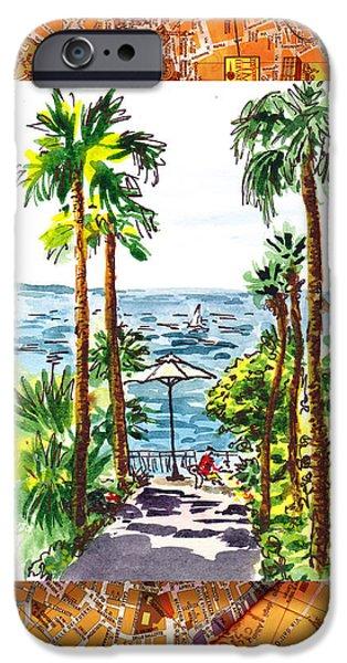 Umbrella iPhone Cases - Italy Sketches Palm Trees Of Sorrento iPhone Case by Irina Sztukowski