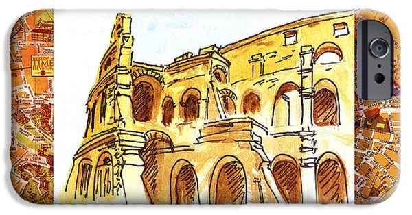 Ancient Paintings iPhone Cases - Italy Sketches Rome Colosseum Ruins iPhone Case by Irina Sztukowski