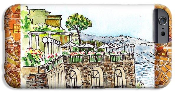 Umbrella iPhone Cases - Italy Sketches Sorrento Cliff iPhone Case by Irina Sztukowski