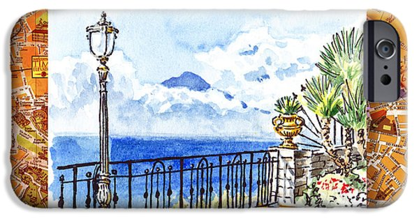 Maps Paintings iPhone Cases - Italy Sketches Sorrento View On Volcano Vesuvius  iPhone Case by Irina Sztukowski