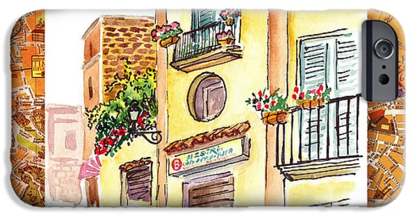 Flowerpot iPhone Cases - Italy Sketches Streets Of Sorrento  iPhone Case by Irina Sztukowski
