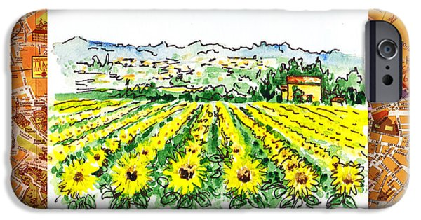 Crops iPhone Cases - Italy Sketches Sunflowers of Tuscany iPhone Case by Irina Sztukowski
