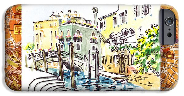 History Channel iPhone Cases - Italy Sketches Venice Canale iPhone Case by Irina Sztukowski