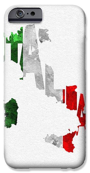 Original Watercolor iPhone Cases - Italy Typographic Map Flag iPhone Case by Ayse Deniz