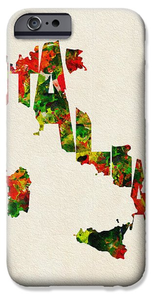 Dirty iPhone Cases - Italy Typographic Watercolor Map iPhone Case by Ayse Deniz