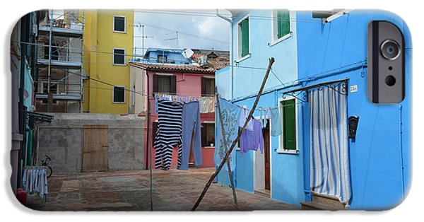 Canal Street Line iPhone Cases - Italy - Venezia - Laundry Day In Colorful Burano iPhone Case by Ana Maria Edulescu