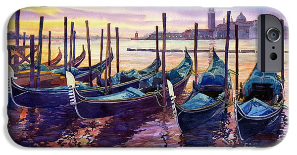 Boat Paintings iPhone Cases - Italy Venice Early Mornings iPhone Case by Yuriy Shevchuk