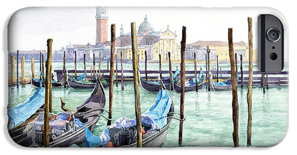 Morning Light Paintings iPhone Cases - Italy Venice Gondolas Parked iPhone Case by Yuriy Shevchuk