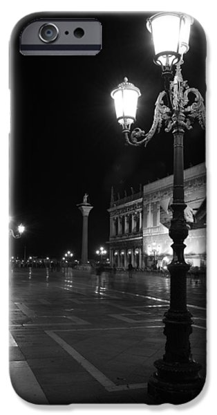 Night Lamp iPhone Cases - Italy, Venice, San Marco Square At iPhone Case by Tips Images