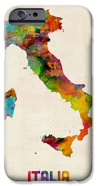 Italy iPhone Cases - Italy Watercolor Map Italia iPhone Case by Michael Tompsett