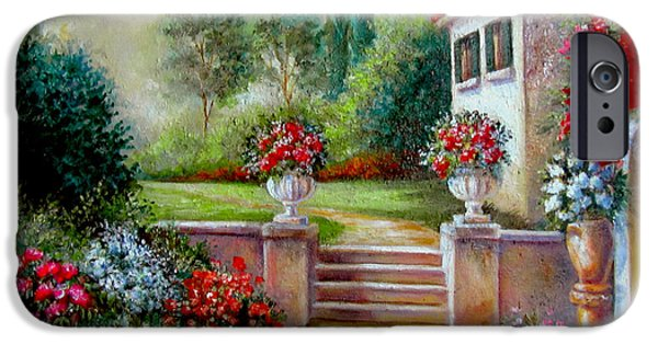 Garden Scene Paintings iPhone Cases - Italyan Villa with garden  iPhone Case by Gina Femrite