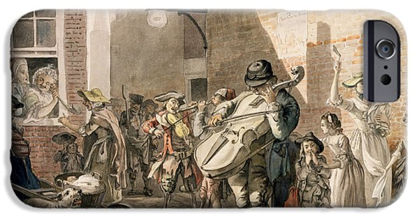 Victorian Drawings iPhone Cases - Itinerant Musicians Playing In A Poor iPhone Case by Paul Sandby