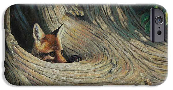 Pup iPhone Cases - Fox - Its a Big World Out There iPhone Case by Crista Forest