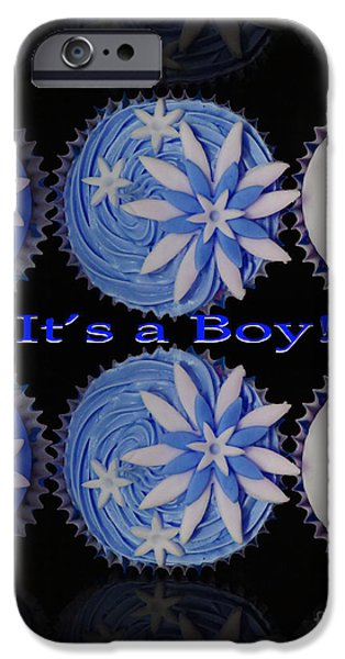 Tea Party iPhone Cases - Its a Boy Cupcakes iPhone Case by Terri  Waters