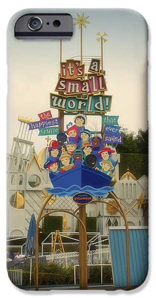 Toy Store iPhone Cases - Its A small World Fantasyland Signage Disneyland iPhone Case by Thomas Woolworth