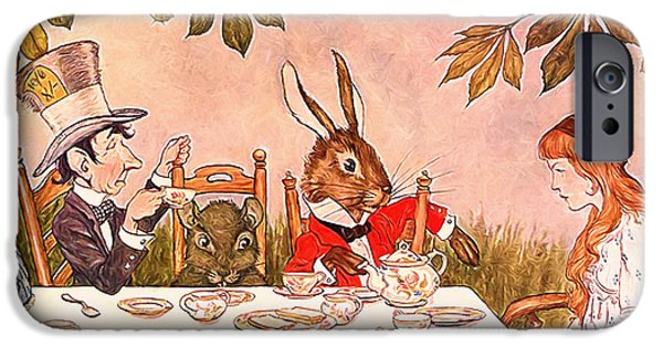 March Hare iPhone Cases - Its Always Tea-time iPhone Case by John K Woodruff