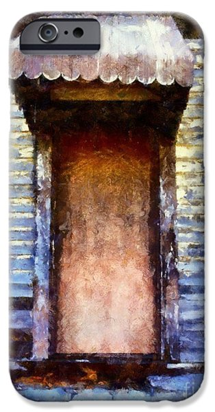 Rural Decay Digital Art iPhone Cases - Its been so long - abandoned farm house door iPhone Case by Janine Riley