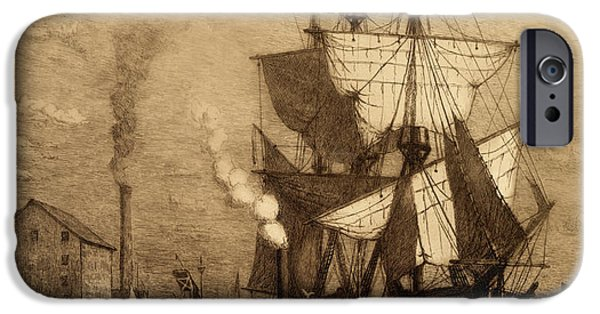 Pirate Ships iPhone Cases - Its Five Oclock Somewhere Schooner iPhone Case by John Stephens