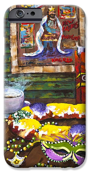 Mardi Gras Paintings iPhone Cases - Its Mardi Gras Time iPhone Case by Dianne Parks
