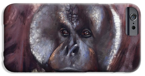 Orangutan Digital Art iPhone Cases - Its My World Also iPhone Case by Arie Vanderwyst