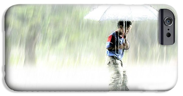 Young iPhone Cases - Its Raining Outside iPhone Case by Heiko Koehrer-Wagner