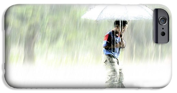 Pastel iPhone Cases - Its Raining Outside iPhone Case by Heiko Koehrer-Wagner