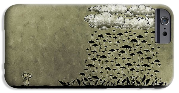 Animation iPhone Cases - Its Raining Umbrellas iPhone Case by Gianfranco Weiss
