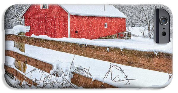 Connecticut Landscape iPhone Cases - Its Snowing iPhone Case by Bill  Wakeley