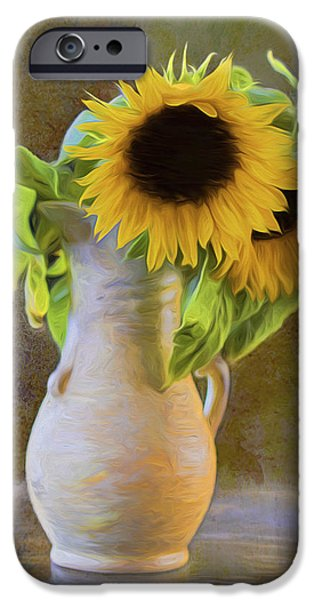 Old Digital Art iPhone Cases - Its What Sunflowers Do - Flower Art iPhone Case by Jordan Blackstone