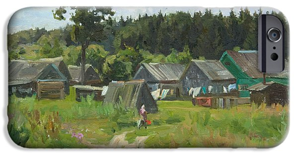 Russia Paintings iPhone Cases - Ivankovo village iPhone Case by Victoria Kharchenko