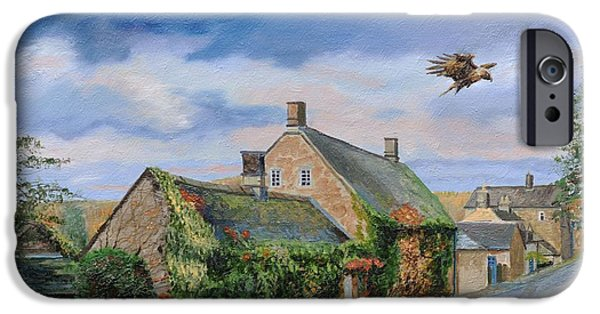 Peak iPhone Cases - Ivy Cottage Beeley, Chatsworth, Derbyshire, 2009 Oil On Canvas iPhone Case by Trevor Neal