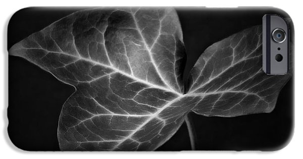 Monochromatic Digital Art iPhone Cases - Black and White Flowers Macro Photography Art Work iPhone Case by Artecco Fine Art Photography