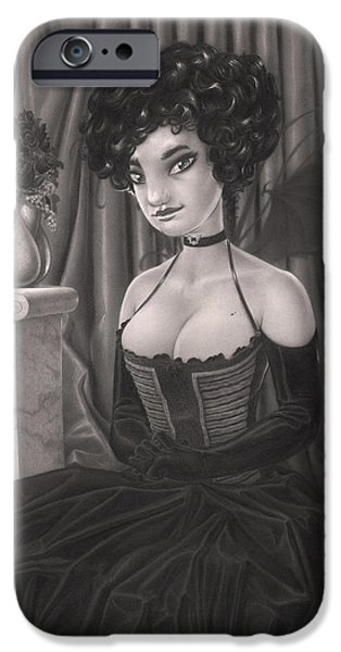 Creepy Drawings iPhone Cases - Ivy iPhone Case by Richard Moore