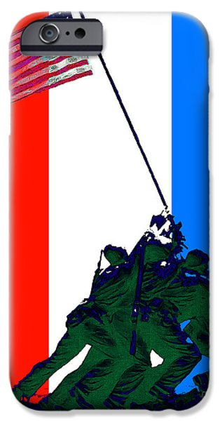Wwi iPhone Cases - Iwo Jima 20130210 Red White Blue iPhone Case by Wingsdomain Art and Photography