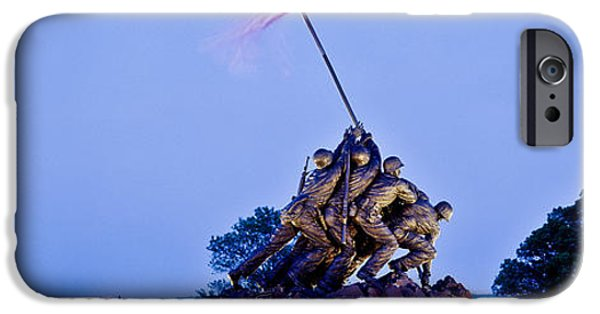 American Flag iPhone Cases - Iwo Jima Memorial At Dusk iPhone Case by Panoramic Images