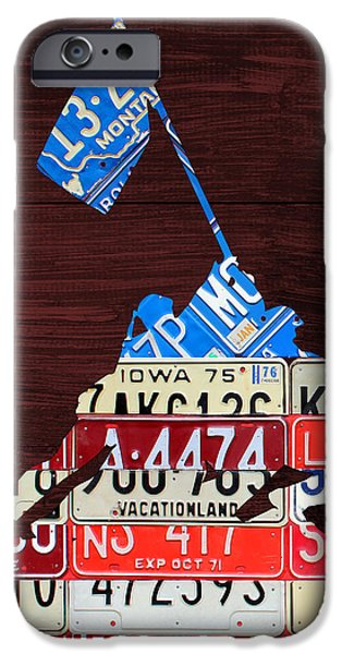 Board Mixed Media iPhone Cases - Iwo Jima United States Marines Raising the American Flag Silhouette License Plate Art on Wood Board iPhone Case by Design Turnpike