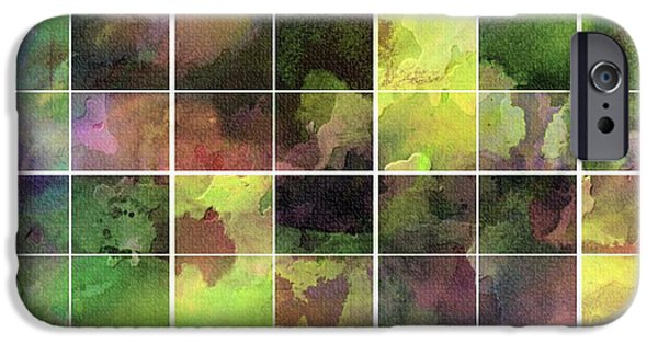 Abstract Digital Tapestries - Textiles iPhone Cases - Tiled Watercolor Blocks with Texture iPhone Case by Barbara Griffin