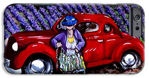 Old Cars iPhone Cases - J. C. 1931 Fishing in Red iPhone Case by Jackie Carpenter