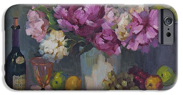 Wine Bottles iPhone Cases - J. P. Chenet and Peonies iPhone Case by Diane McClary