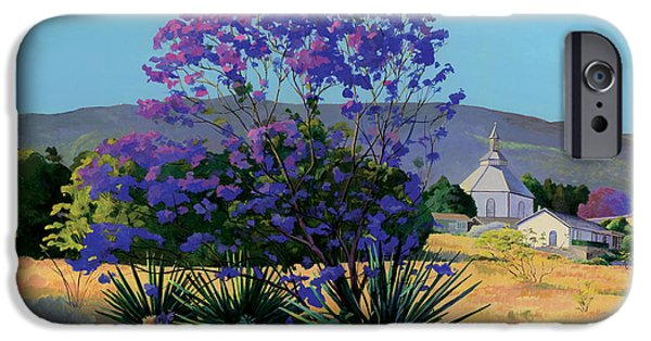 Paintings iPhone Cases - Jacaranda Holy Ghost Church in Kula Maui Hawaii iPhone Case by Don Jusko