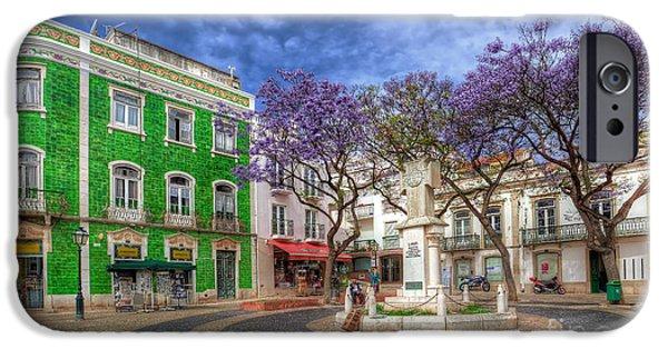 Jacaranda Tree iPhone Cases - Jacaranda Square Lagos iPhone Case by English Landscapes