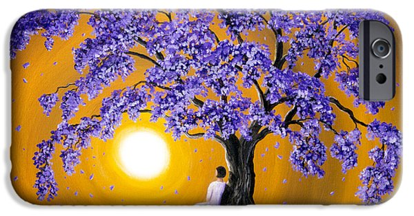 Blossom iPhone Cases - Jacaranda Sunset Meditation iPhone Case by Laura Iverson