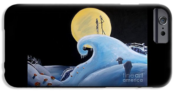 Recent iPhone Cases - Jack and Sally Snowy Hill iPhone Case by Marisela Mungia
