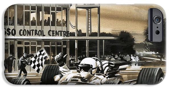 Racing iPhone Cases - Jack Brabham wins the first ever Canadian Grand Prix iPhone Case by Wilf Hardy