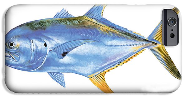 Angel Blues Paintings iPhone Cases - Jack Crevalle iPhone Case by Carey Chen
