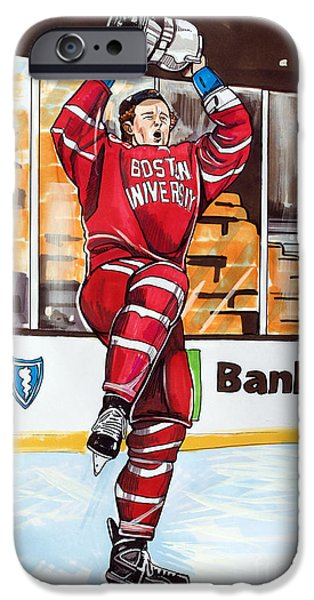 Hockey Drawings iPhone Cases - Jack Eichel of Boston University 2015 Beanpot Champions iPhone Case by Dave Olsen